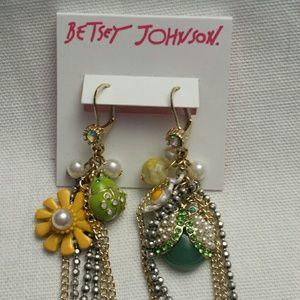 Betsy Johnson NWT Ladybug Jewel Dangle Earrings